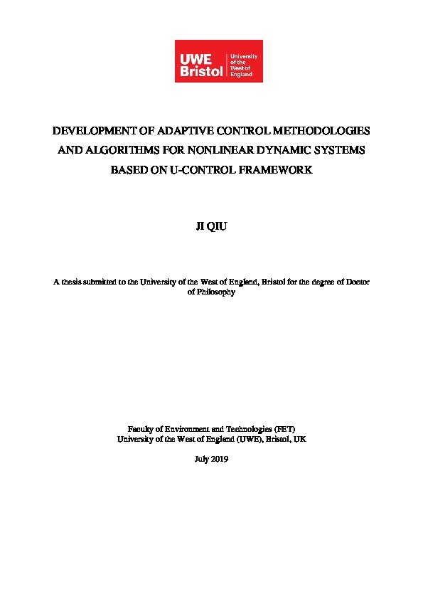Development of adaptive control methodologies and algorithms for nonlinear dynamic systems based on u-control framework Thumbnail