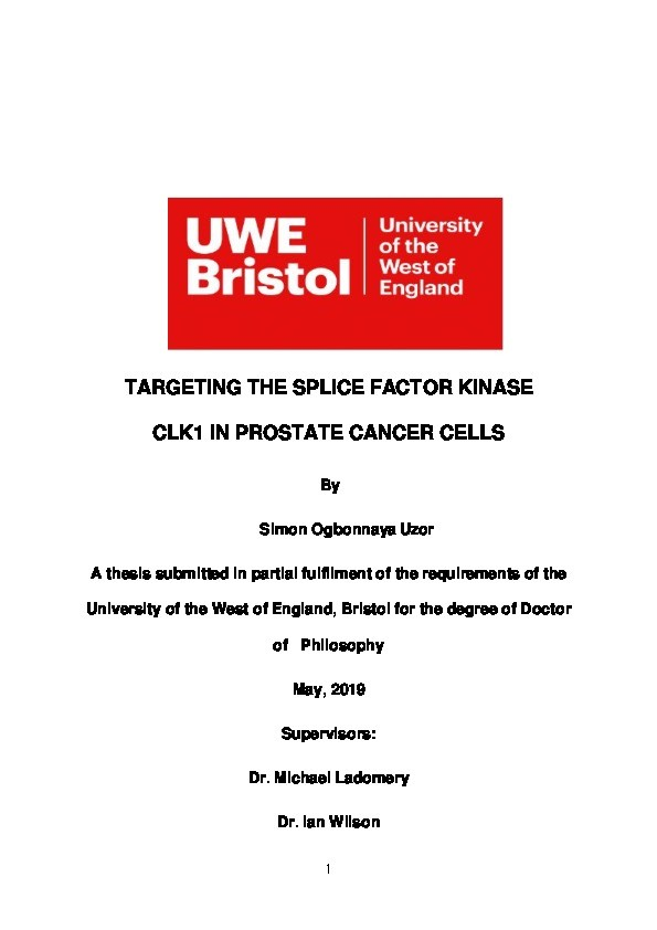 Targeting the splice factor kinase CLK1 in prostate cancer cells Thumbnail