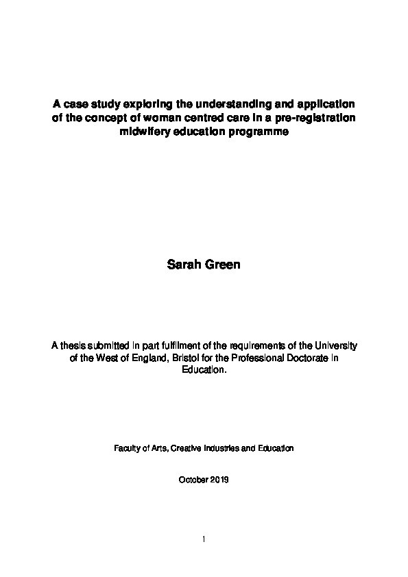 A case study exploring the definition and application of the concept of woman centred care in a pre-registration midwifery education programme Thumbnail