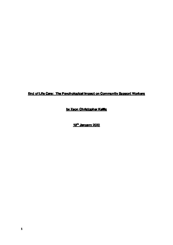 End of life care: The psychological impact on community support workers Thumbnail