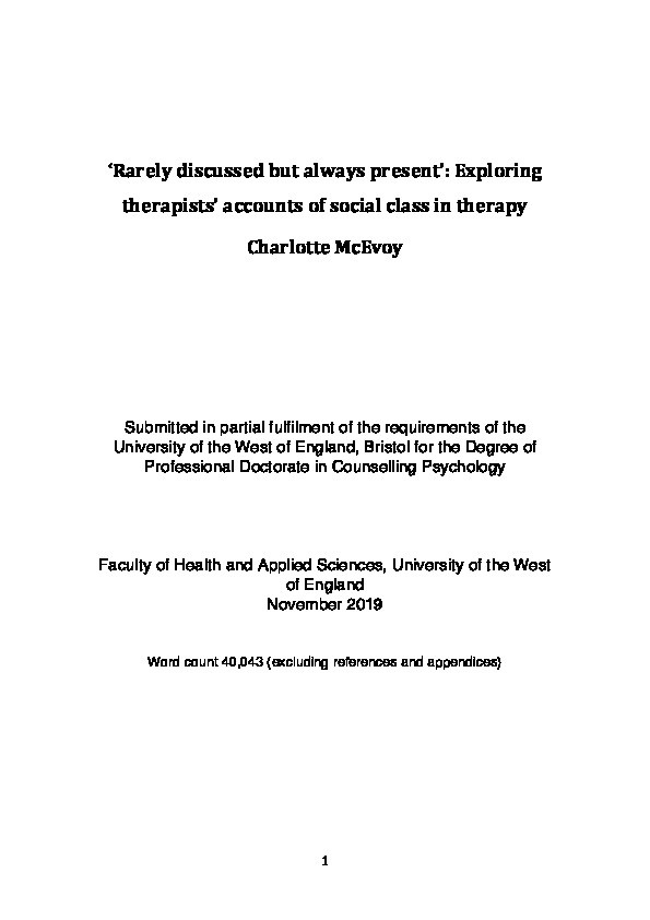 'Rarely discussed but always present': Exploring therapists' accounts of social class in therapy Thumbnail