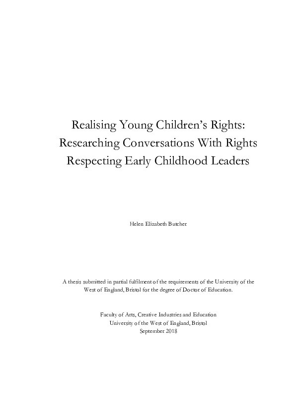 Realising young children's rights: Researching conversations with rights respecting early childhood leaders Thumbnail
