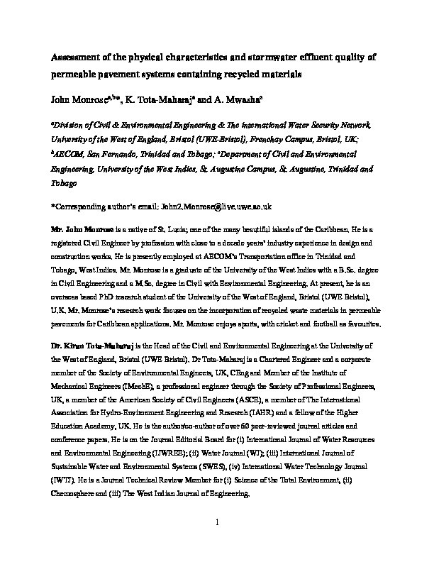Assessment of the physical characteristics and stormwater effluent quality of permeable pavement systems containing recycled materials Thumbnail