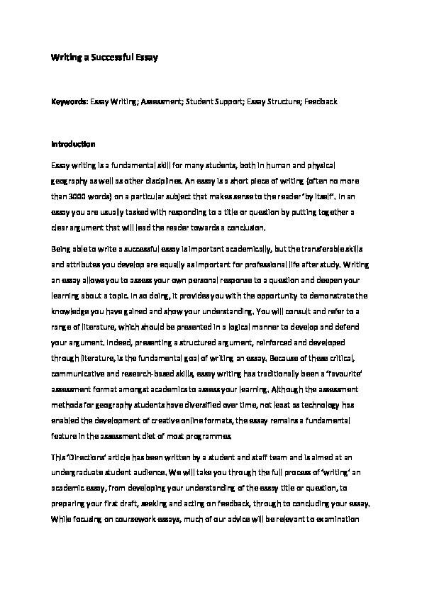 Writing a successful essay Thumbnail