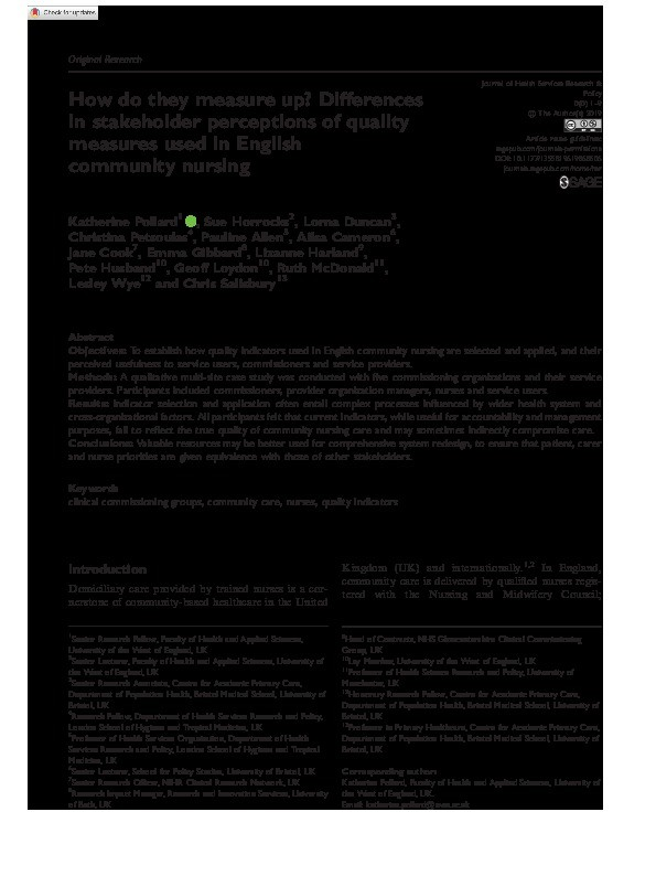 How do they measure up? Differences in stakeholder perceptions of quality measures used in English community nursing Thumbnail