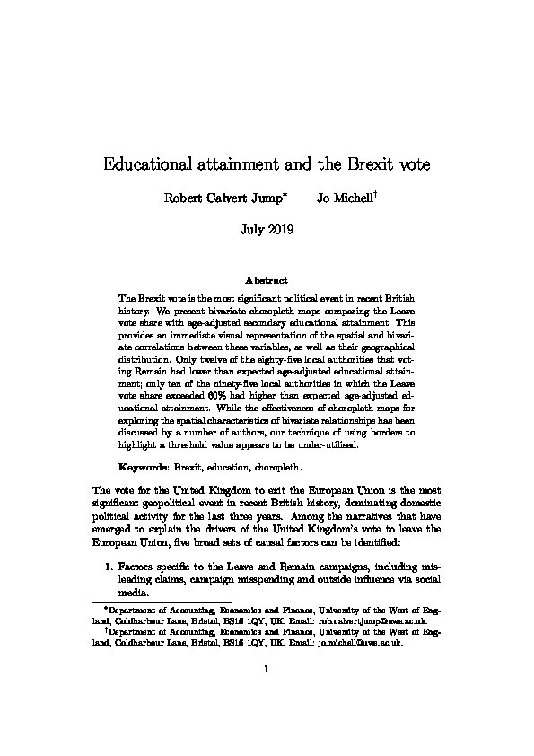 Educational attainment and the Brexit vote Thumbnail