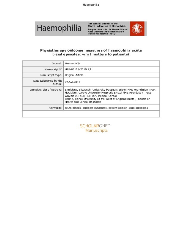 Physiotherapy outcome measures of haemophilia acute bleed episodes: What matters to patients? Thumbnail
