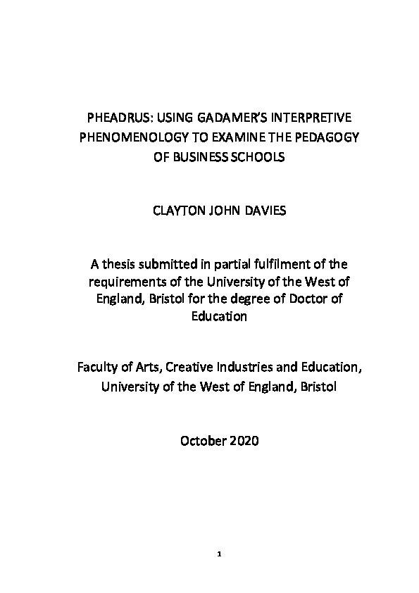 PHEADRUS: Using Gadamer's interpretive phenomenology to examine the pedagogy of business schools Thumbnail