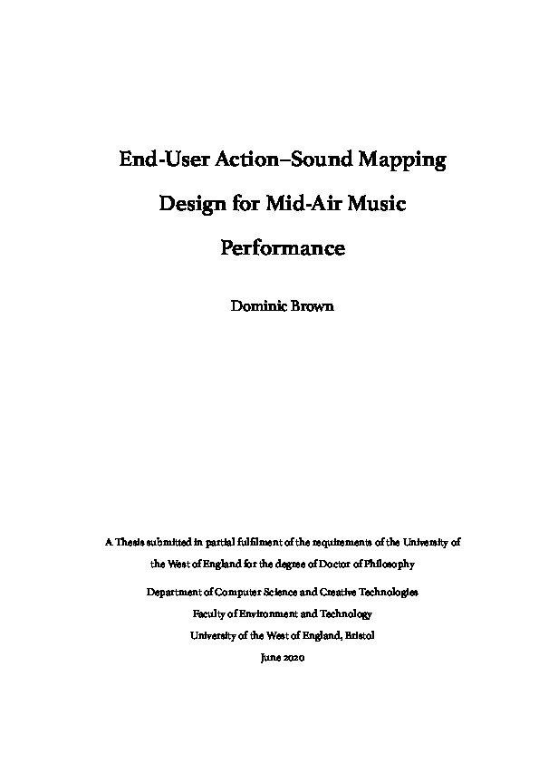 End-user action-sound mapping design for mid-air music performance Thumbnail