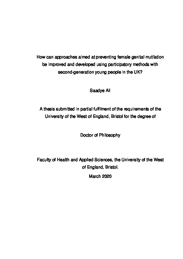 How can approaches aimed at preventing Female Genital Mutilation be improved and developed using participatory methods with second-generation young people in the UK? Thumbnail