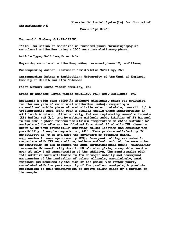Evaluation of additives on reversed-phase chromatography of monoclonal antibodies using a 1000Å stationary phase Thumbnail