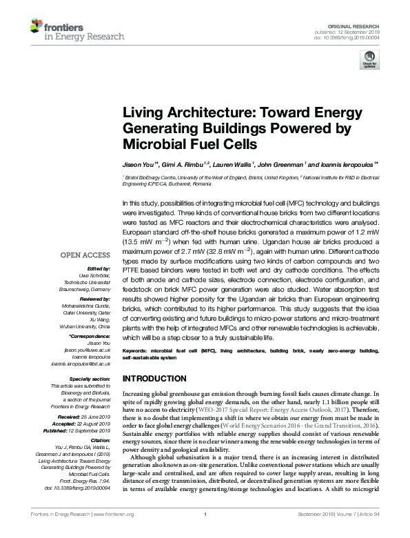 Living architecture: Toward energy generating buildings powered by microbial fuel cells Thumbnail