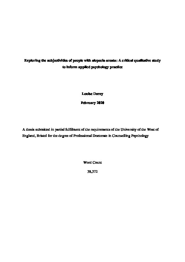 Exploring the subjectivities of people with alopecia areata - a critical qualitative study to inform applied psychology practice Thumbnail