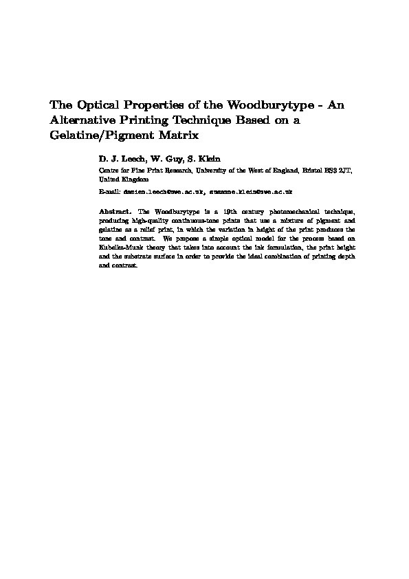 The optical properties of the Woodburytype - An alternative printing technique based on a gelatine/pigment matrix Thumbnail