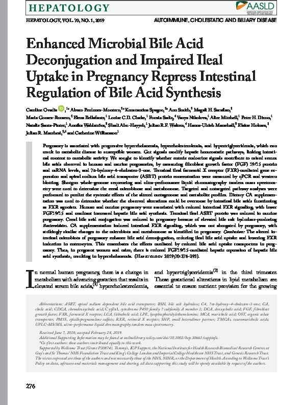 Enhanced microbial bile acid deconjugation and impaired ileal uptake in pregnancy repress intestinal regulation of bile acid synthesis Thumbnail