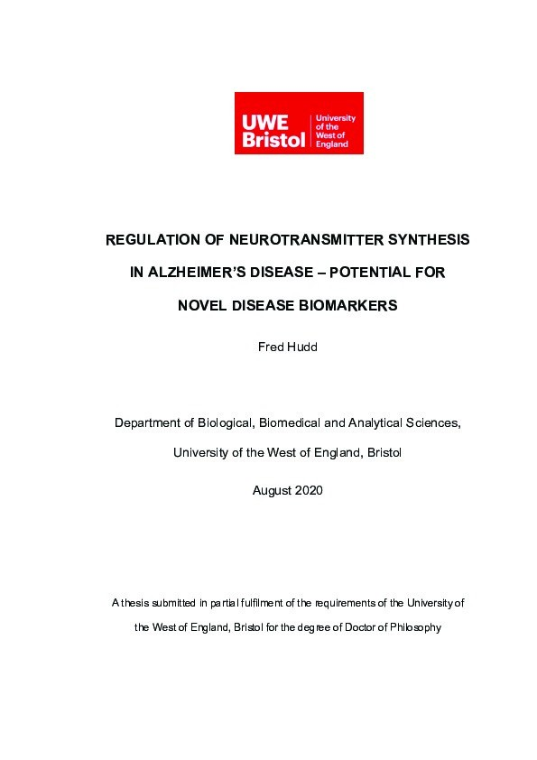 Regulation of neurotransmitter synthesis in Alzheimer's disease - Potential fornovel disease biomarkers Thumbnail