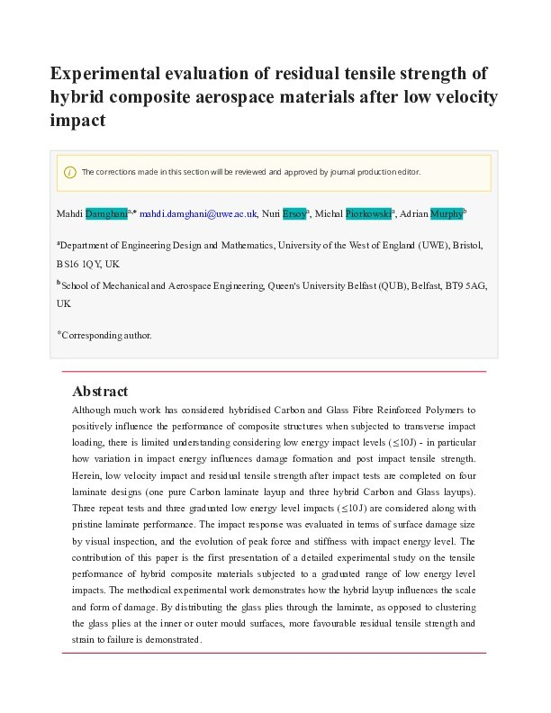 Experimental evaluation of residual tensile strength of hybrid composite aerospace materials after low velocity impact Thumbnail