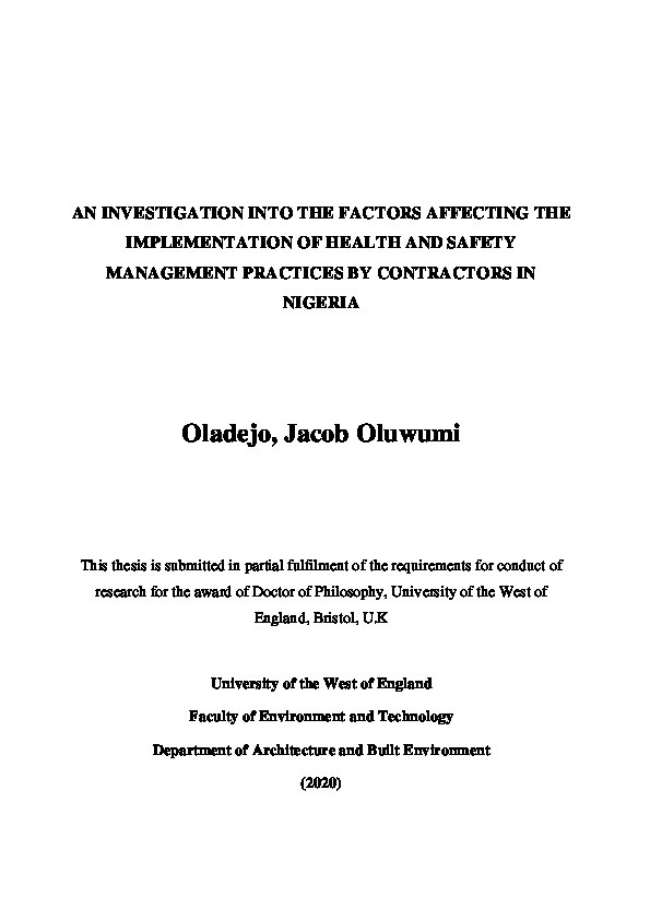 An investigation in the factors affecting the implementation of health and safety management practices by contractors in Nigeria Thumbnail