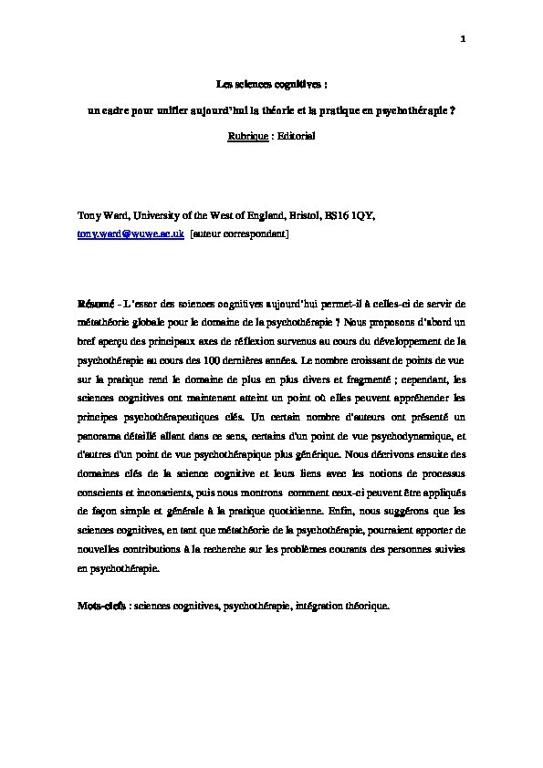 Les sciences cognitives: Un cadre pour unifier aujourd'hui la théorie et la pratique en psychothérapie? Thumbnail