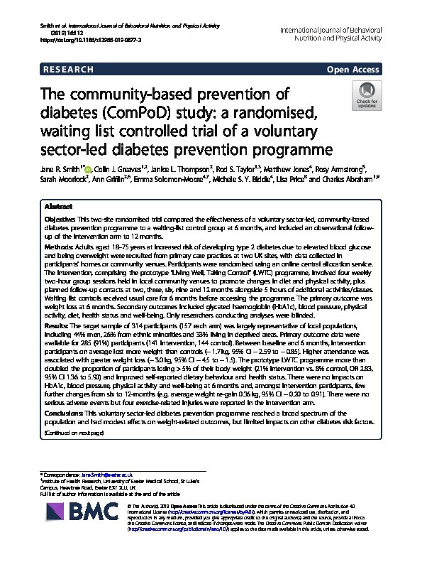 The community-based prevention of diabetes (ComPoD) study: A randomised, waiting list controlled trial of a voluntary sector-led diabetes prevention programme Thumbnail