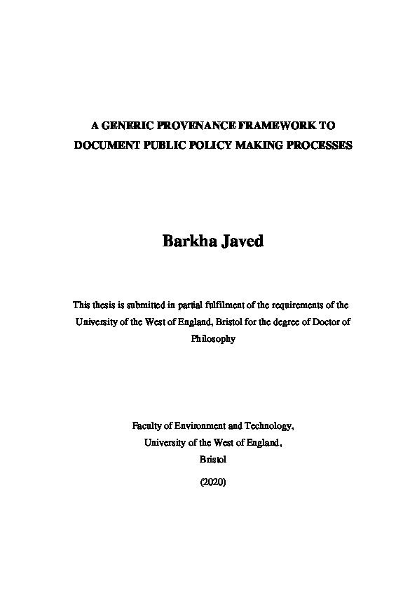 A generic provenance framework to document public policy making processes Thumbnail