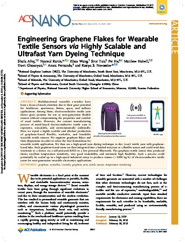 Engineering Graphene Flakes for Wearable Textile Sensors via Highly Scalable and Ultrafast Yarn Dyeing Technique Thumbnail