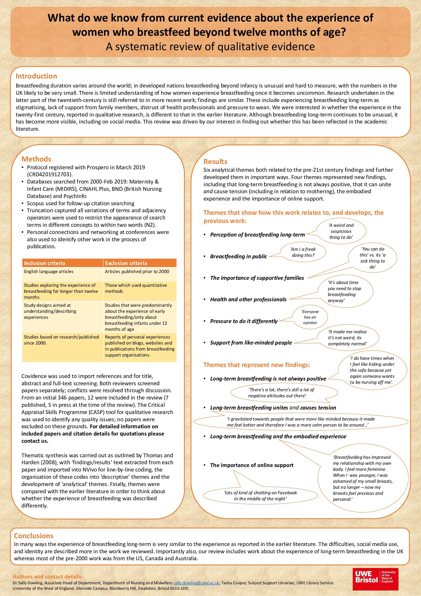What do we know from current evidence about the experience of  women who breastfeed beyond twelve months of age? A systematic review of qualitative evidence Thumbnail