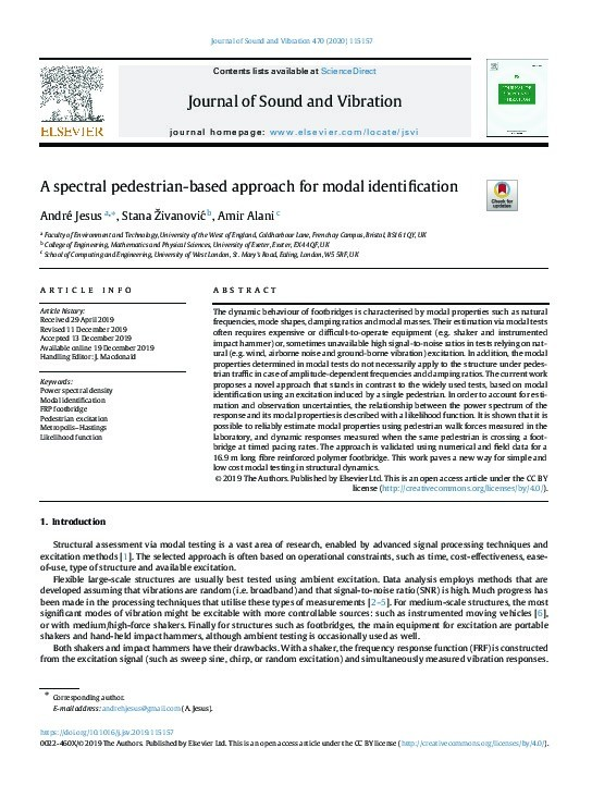 A spectral pedestrian-based approach for modal identification Thumbnail