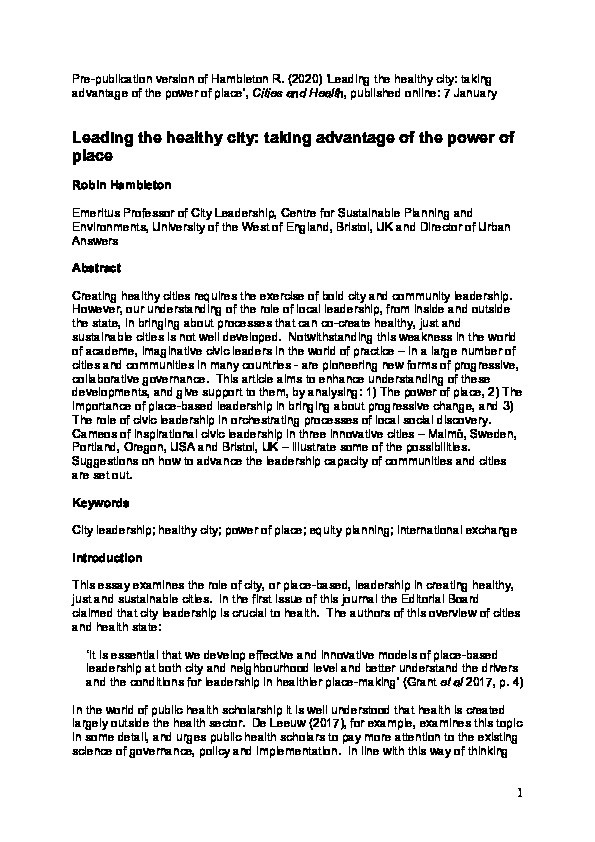 Leading the healthy city: Taking advantage of the power of place Thumbnail