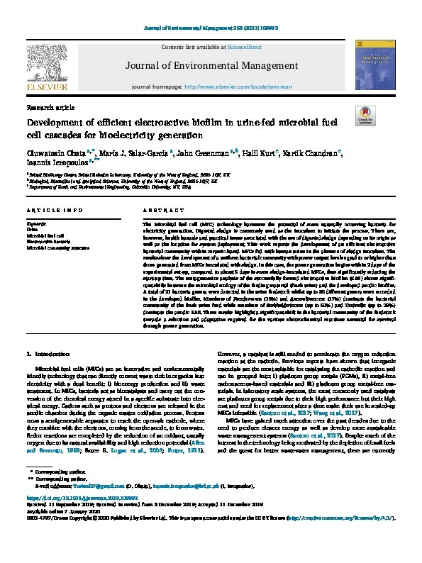 Development of efficient electroactive biofilm in urine-fed microbial fuel cell cascades for bioelectricity generation Thumbnail