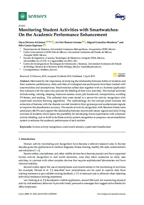 Monitoring student activities with smartwatches: On the academic performance enhancement Thumbnail