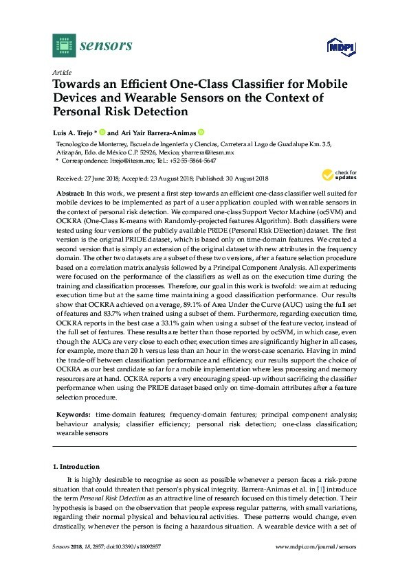 Towards an efficient one-class classifier for mobile devices and wearable sensors on the context of personal risk detection Thumbnail