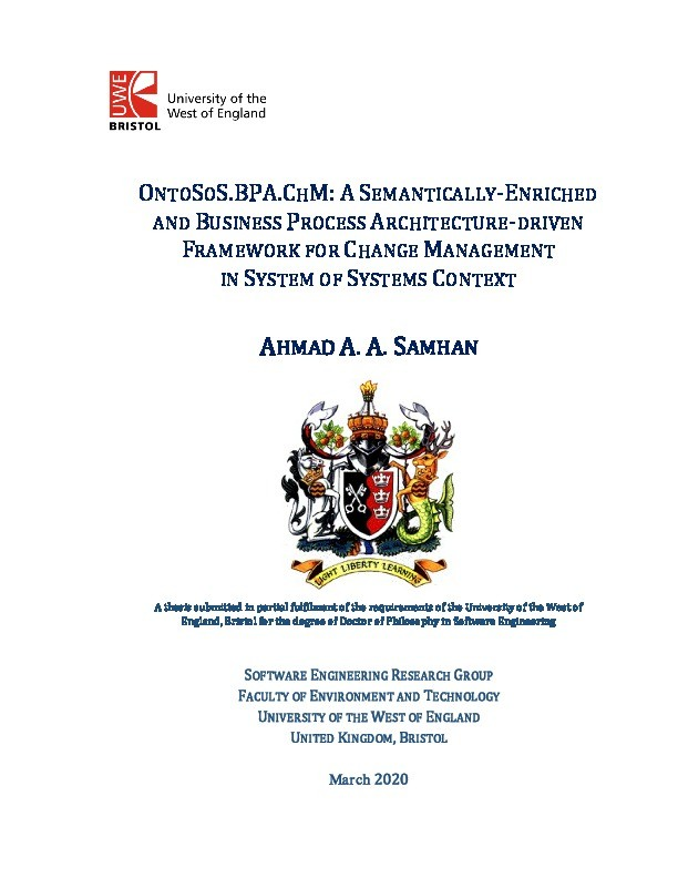 OntoSoS.BPA.ChM: A semantically-enriched and business process architecture-driven framework for change management in system of systems context Thumbnail