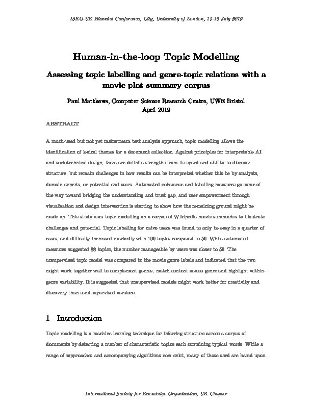 Human-in-the-loop topic modelling:  Assessing topic labelling and genre-topic relations with a movie plot summary corpus Thumbnail