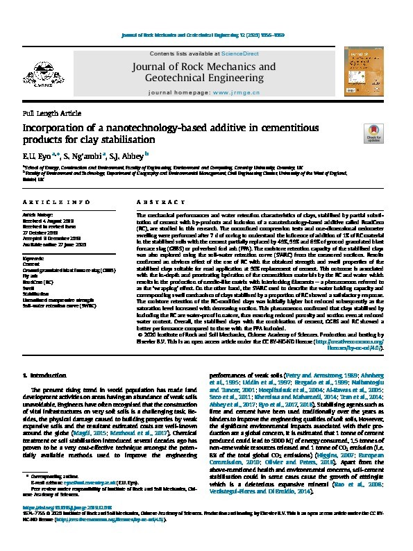Incorporation of a nanotechnology-based additive in cementitious products for clay stabilisation Thumbnail