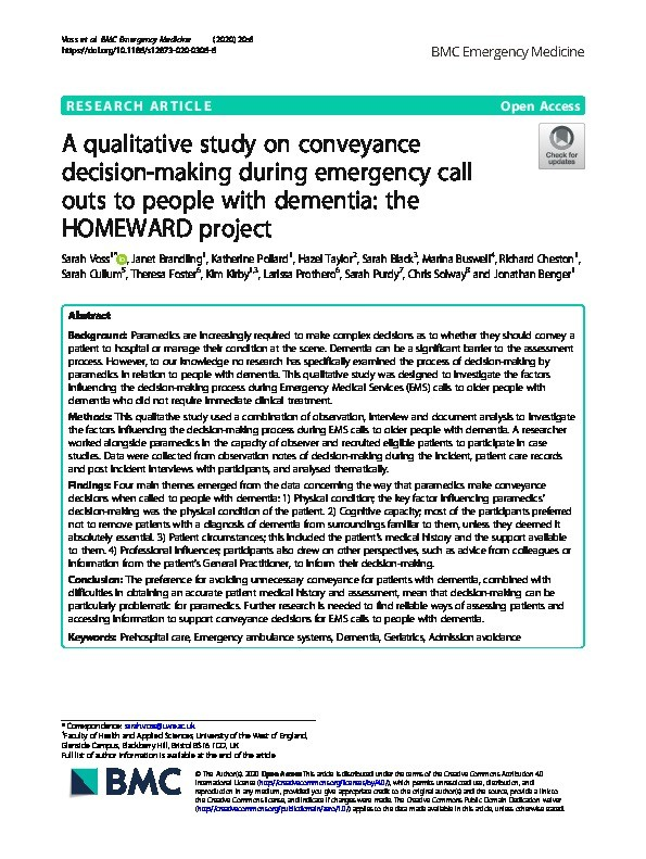 A qualitative study on conveyance decision-making during emergency call outs to people with dementia: The HOMEWARD project Thumbnail