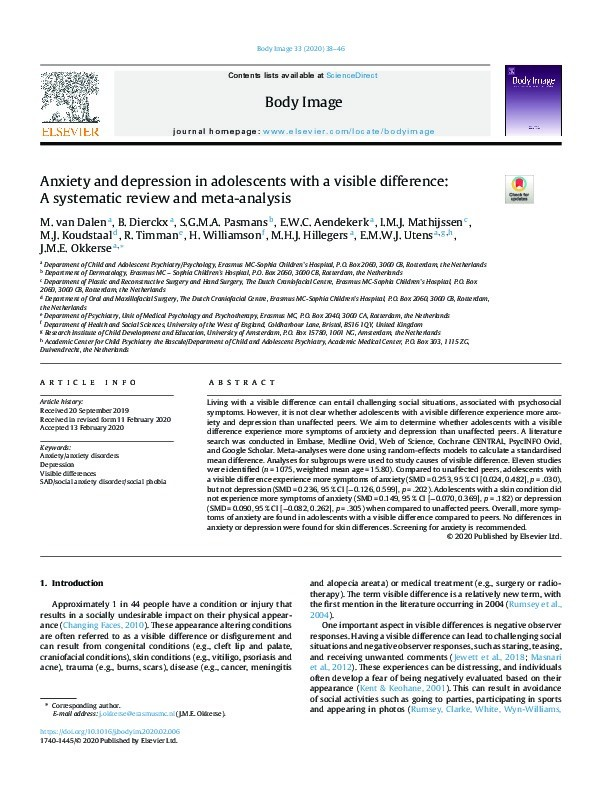 Anxiety and depression in adolescents with a visible difference: A systematic review and meta-analysis Thumbnail