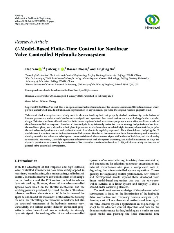 U -Model-Based Finite-Time Control for Nonlinear Valve-Controlled Hydraulic Servosystem Thumbnail