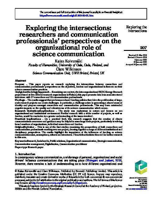 Exploring the intersections: Researchers and communication professionals' perspectives on the organizational role of science communication Thumbnail