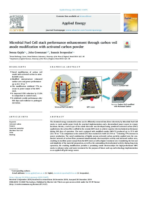 Microbial fuel cell stack performance enhancement through carbon veil anode modification with activated carbon powder Thumbnail
