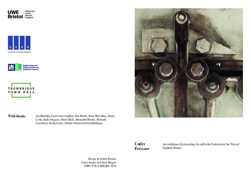 Under pressure: An exhibition of printmaking by staff at the University of the West of England, Bristol. Thumbnail