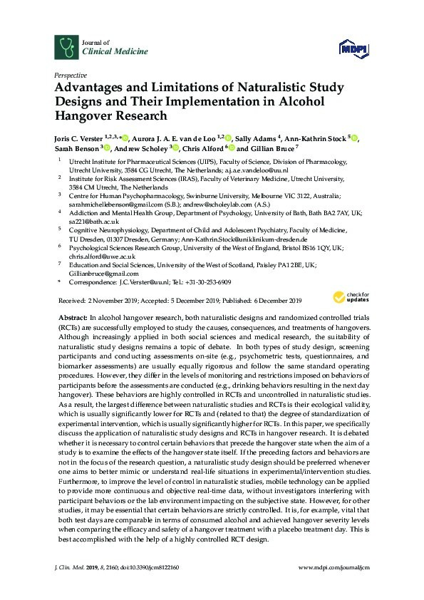Advantages and limitations of naturalistic study designs and their implementation in alcohol hangover research Thumbnail