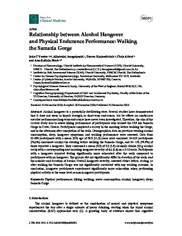 Relationship between alcohol hangover and physical endurance performance: Walking the Samaria Gorge Thumbnail