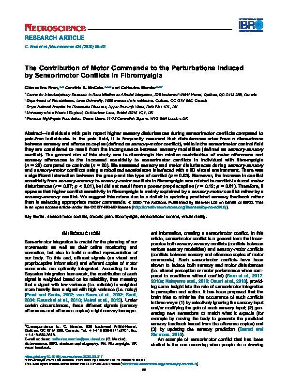 The contribution of motor commands to the perturbations induced by sensorimotor conflicts in fibromyalgia Thumbnail
