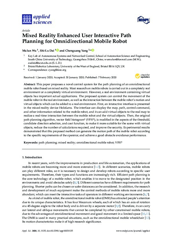 Mixed reality enhanced user interactive path planning for omnidirectional mobile robot Thumbnail