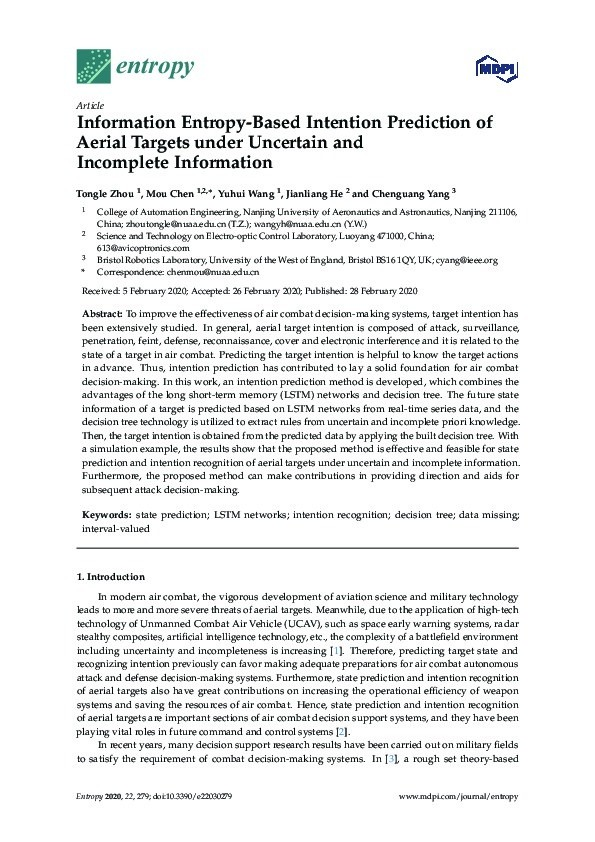 Information entropy-based intention prediction of aerial targets under uncertain and incomplete information Thumbnail