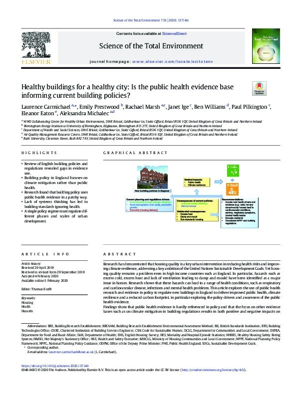 Healthy buildings for a healthy city: Is the public health evidence base informing current building policies? Thumbnail