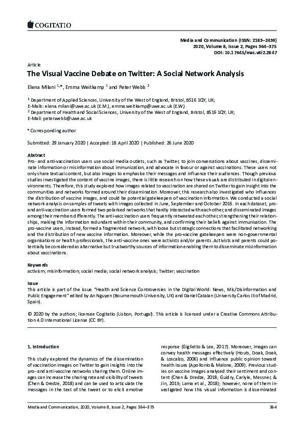 The visual vaccine debate on Twitter: A social network analysis Thumbnail