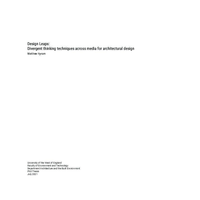 Design leaps: Divergent thinking techniques across media for architectural design Thumbnail