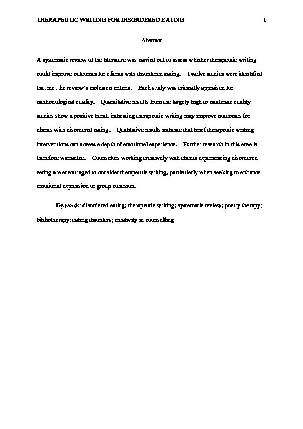 Therapeutic writing for disordered eating: A systematic review Thumbnail